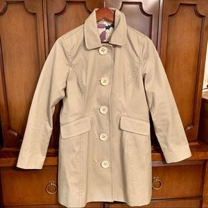 Boden Trench Coat Floral Lining/White Buttons